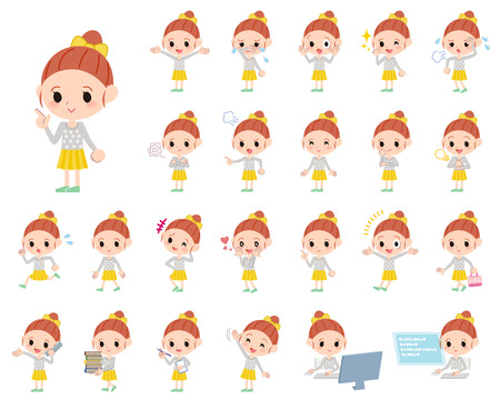 Set of various poses of Polka dot clothes ribbon girl Illustration