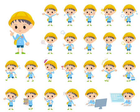 nursery school: Set of various poses of Nursery school boy