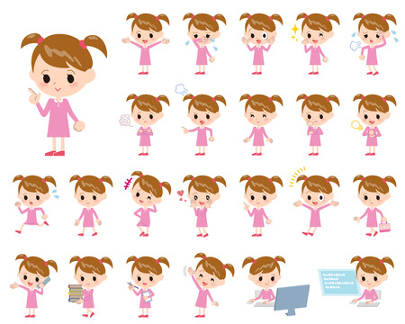 looks: Set of various poses of Pink clothing girl