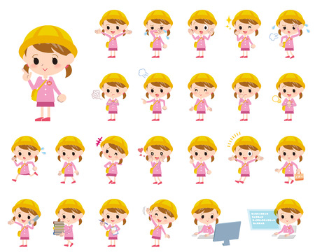 nursery school: Set of various poses of Nursery school girl