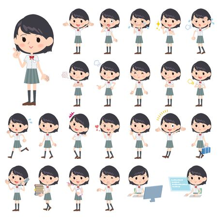 Set of various poses of schoolgirl White shortsleeved shirt