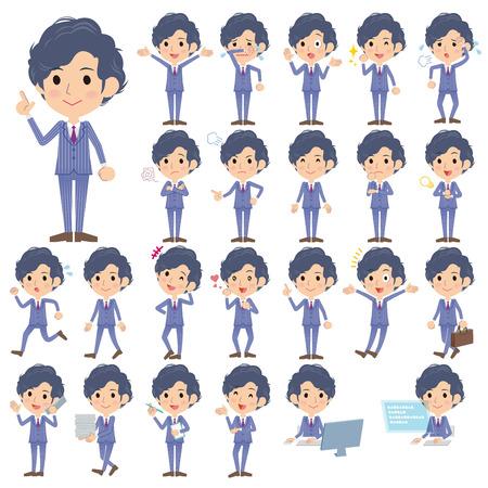 Set of various poses of Stripe suit perm hair men 向量圖像
