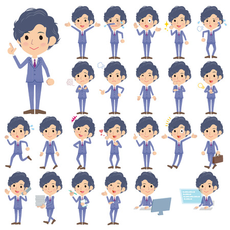 Set of various poses of Stripe suit perm hair men Illustration