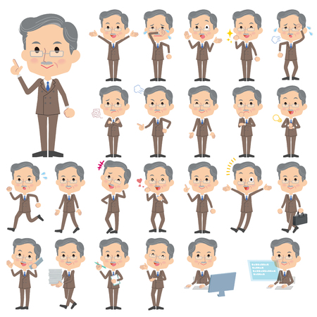 Set of various poses of Double suit beard old man