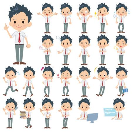 short sleeved: Set of various poses of schoolboy White shortsleeved shirt Illustration