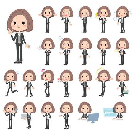 white people: Set of various poses of Black jacket pants business woman Illustration