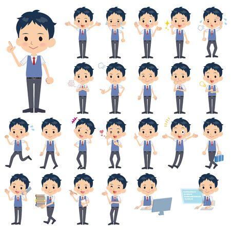 short sleeved: Set of various poses of schoolboy Blue vest shortsleeved shirt