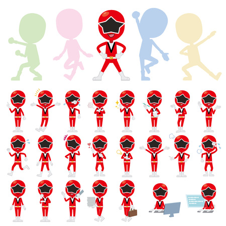 ranger: Set of various poses of Red Ranger
