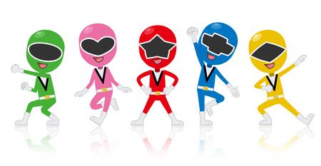 Ranger all five colors  イラスト・ベクター素材