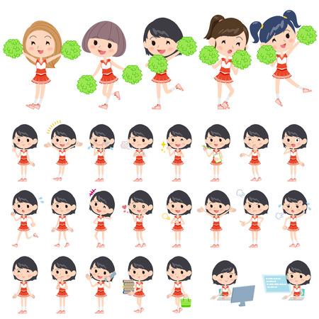 Set of various poses of red Cheerleader Team