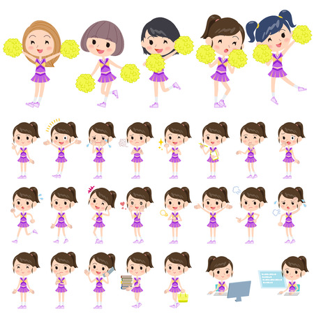 cheer: Set of various poses of purple Cheerleader team