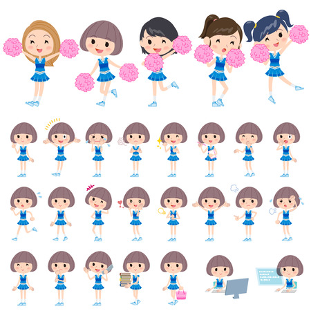 porrista: Set of various poses of blue Cheerleader Vectores