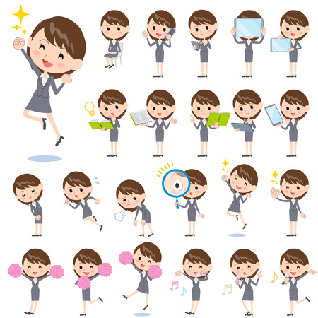 Set of various poses of Gray suit business woman 2  イラスト・ベクター素材