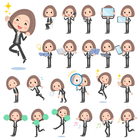 business woman tablet: Set of various poses of Black jacket pants business woman 2