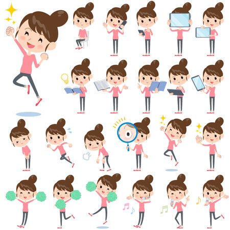 Set of various poses of Bun hair mom Pants style 2 向量圖像