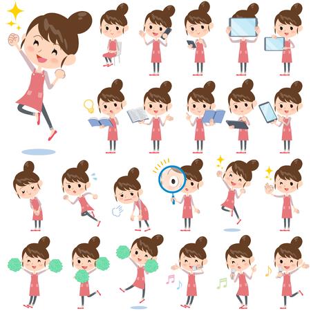 Set of various poses of Ballet Bun hair Apron mom 2
