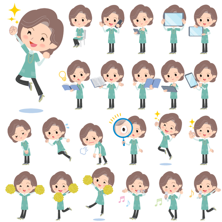 Set of various poses of Blue-green tunic Middle woman 2  イラスト・ベクター素材