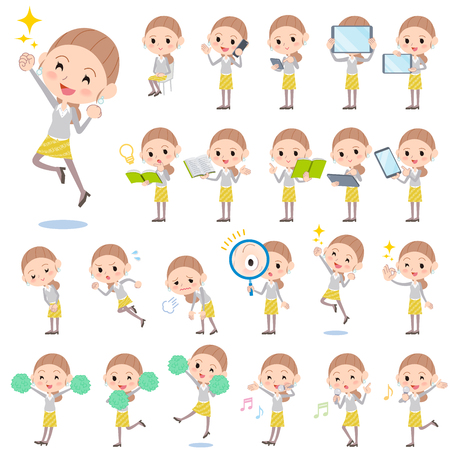 yellow hair: Set of various poses of Behind knot hair yellow floral skirt woman 2 Illustration