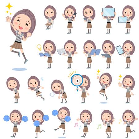 ok: Set of various poses of Long hair border T shirt woman 2