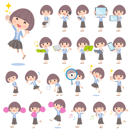 sit: Set of various poses of Mash hair blue cardigan women 2 Illustration