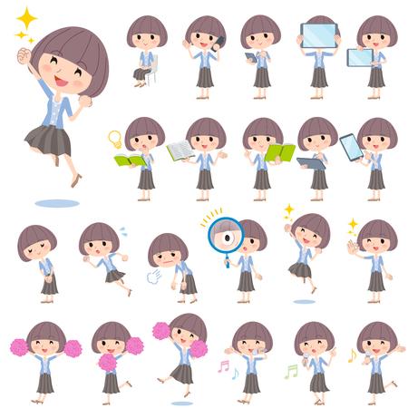 cardigan: Set of various poses of Mash hair blue cardigan women 2 Illustration