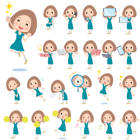 discovery: Set of various poses of Bob hair green dress women 2 Illustration