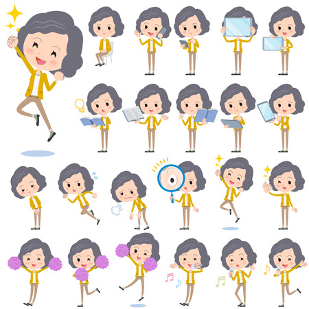 yellow jacket: Set of various poses of Yellow jacket Middle woman 2