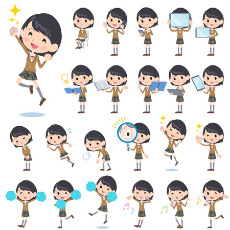 girl at phone: Set of various poses of school girl Brown Blazer 2 Illustration