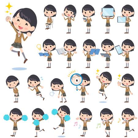 blazer: Set of various poses of school girl Brown Blazer 2 Illustration