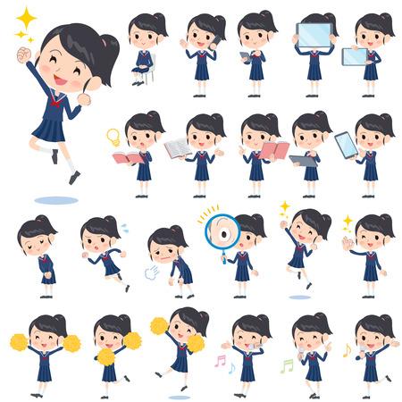 marinero: Conjunto de varias poses de niña de la escuela Juego de marinero 2