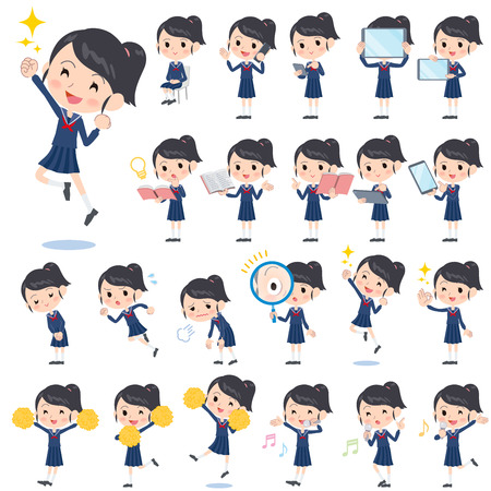 Set of various poses of school girl Sailor suit 2