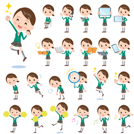 Set of various poses of school girl Green Blazer 2