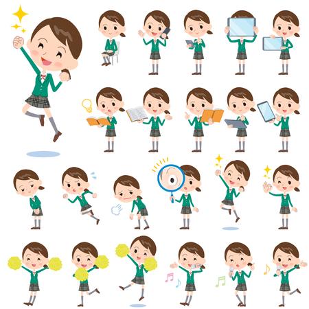 personaje: Conjunto de varias poses de niña de la escuela Americana verde 2