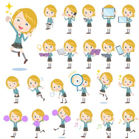 Set of various poses of Schoolgirl Caucasian 2