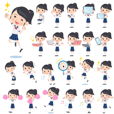 Set of various poses of schoolgirl shortsleeved shirt Sailor suit 2  イラスト・ベクター素材