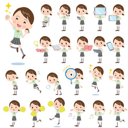 Conjunto de varias actitudes de colegiala Verde Shortsleeved camisa 2 Ilustración de vector
