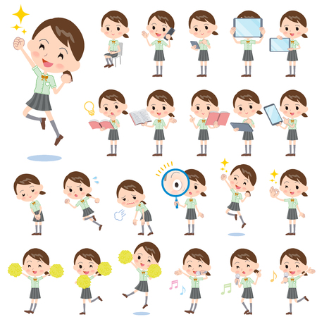 high school: Set of various poses of schoolgirl Green shortsleeved shirt 2 Illustration