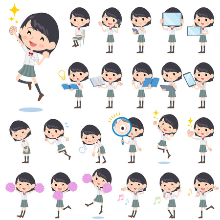 Set of various poses of schoolgirl White shortsleeved shirt 2