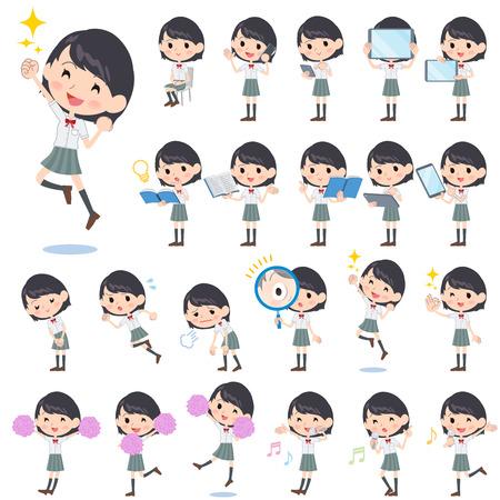 Set van verschillende poses van schoolmeisje White shortsleeved overhemd 2 Stock Illustratie