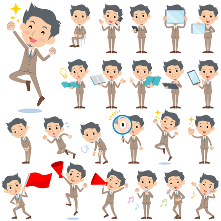 sigh: Set of various poses of Beige suit short hair beard man 2