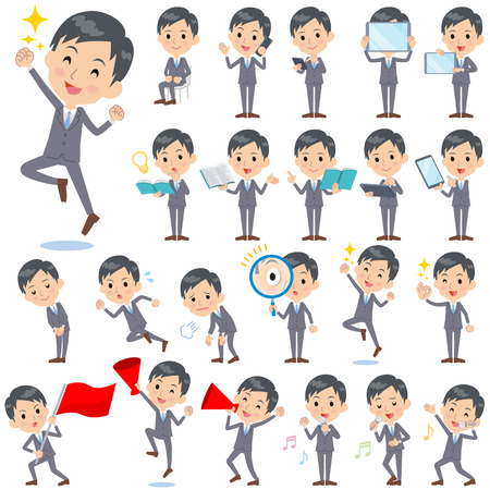 Set of various poses of Gray Suit Businessman 2  イラスト・ベクター素材