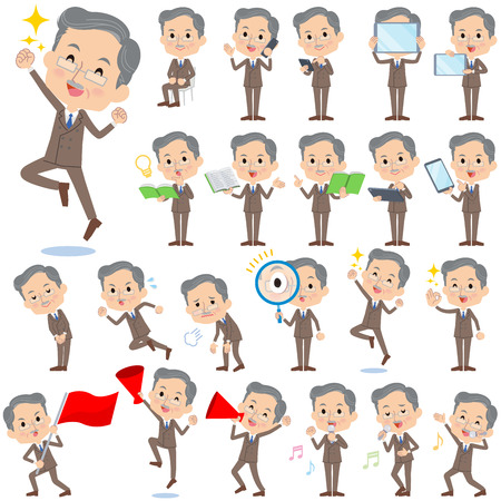 old man sitting: Set of various poses of Double suit beard old man 2