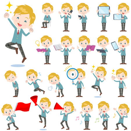 Set of various poses of School boy Caucasian 2