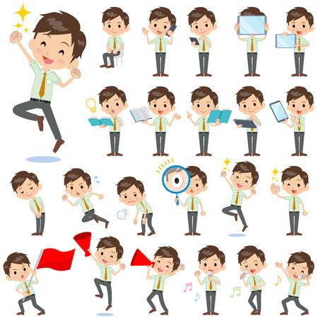 Set of various poses of schoolboy Green shortsleeved shirt 2  イラスト・ベクター素材