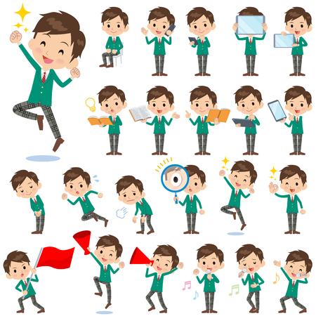 Set of various poses of schoolboy Green Blazer 2  イラスト・ベクター素材