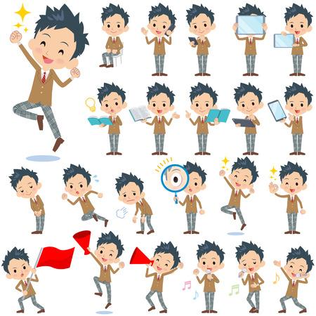 Set of various poses of school boy Brown Blazer 2