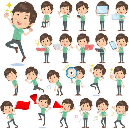 Set of various poses of Green shortsleeved shirt Men 2