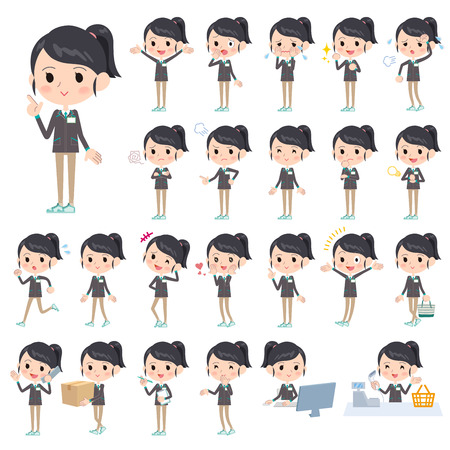convenience: Set of various poses of Convenience store green uniforms women