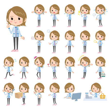 Set of various poses of Convenience store blue uniforms women