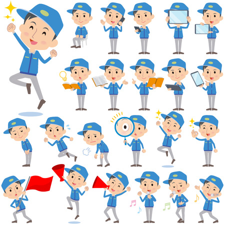 Set of various poses of Delivery man 2